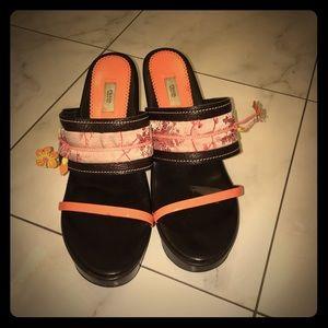 Prada vintage leather wedge sandals
